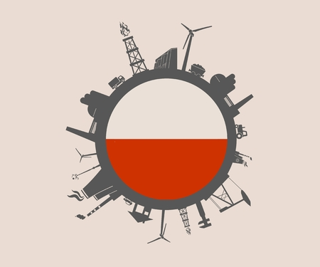 Circle with industry relative silhouettes. Vector illustration. Objects located around the circle. Industrial design background. Poland flag in the center.