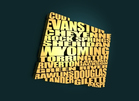 cody: Word cloud map of Wyoming state. Cities list collage. Golden material. 3D rendering Stock Photo