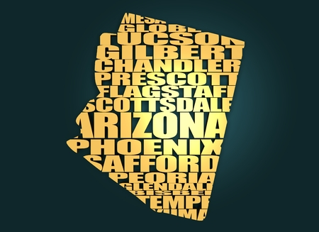 american cities: Word cloud map of Arizona state. Cities list collage. Golden material. 3D rendering Stock Photo