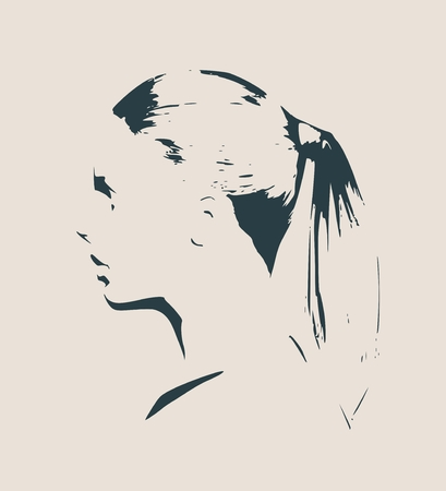nude young: Face profile view. Elegant silhouette of a female head. Vector Illustration. Bob tail hairstyle. Monochrome gamma Illustration