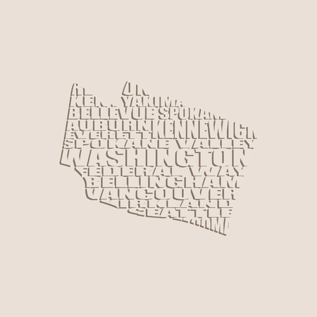 tacoma: Word cloud map of Washington state. Cities list collage Illustration