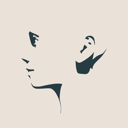 Human head silhouette. Face side view. Elegant silhouette of part of human face. Vector Illustration