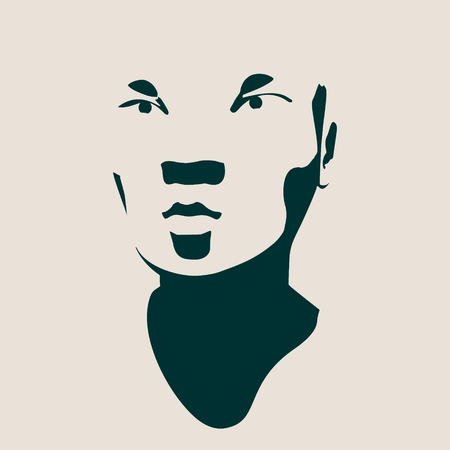 Human head silhouette. Face front view. Elegant silhouette of part of human face. Vector Illustration of an asian woman