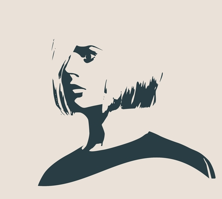 Face profile view. Elegant silhouette of a female head. Vector Illustration. Short hair. Monochrome gamma