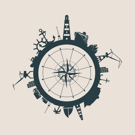 docks: Circle with sea shipping and travel relative silhouettes. Vector illustration.  Industrial design background. Compass symbol in the center.