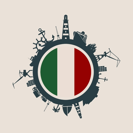 Circle with sea shipping and travel relative silhouettes. Vector illustration. Objects located around the circle. Industrial design background. Italy flag in the center.