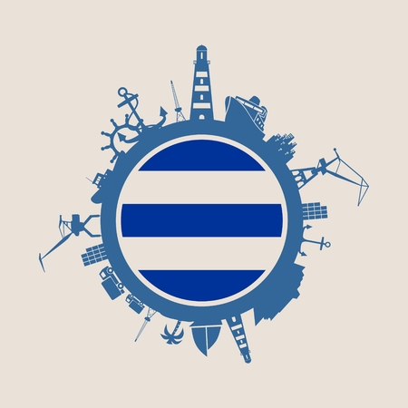 Circle with sea shipping and travel relative silhouettes. Objects located around the circle. Industrial design background. Dunkirk flag in the center.
