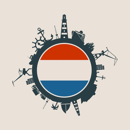 Circle with sea shipping and travel relative silhouettes. Objects located around the circle. Industrial design background. Netherlands flag in the center. Illustration