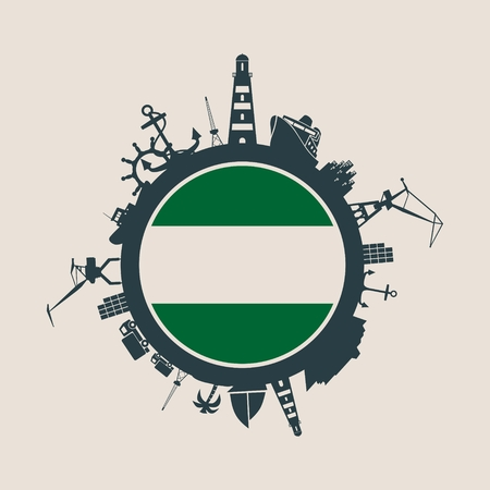 Circle with sea shipping and travel relative silhouettes. Objects located around the circle. Industrial design background. Rotterdam flag in the center.