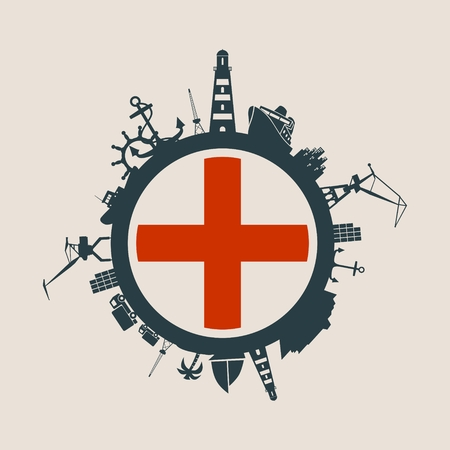 Circle with sea shipping and travel relative silhouettes. Objects located around the circle. Industrial design background. Genoa flag in the center.