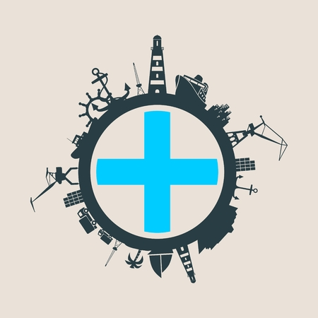 Circle with sea shipping and travel relative silhouettes. Objects located around the circle. Industrial design background. Marseille flag in the center.