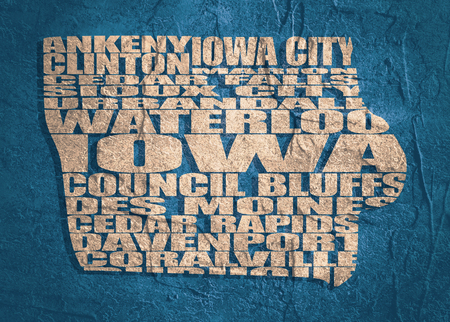 Word cloud map of Iowa state. Cities list collage. Grunge texture Stock Photo