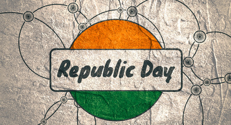 Indian Republic day concept with text Republic day. Modern brochure, report or flyer design template. Scientific design. Connected lines with dots. Round India flag. Grunge texture Stock Photo
