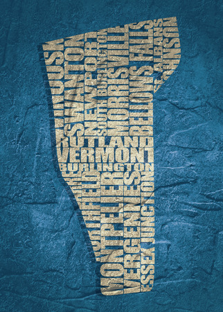 barre: Word cloud map of Vermont state. Cities list collage. Grunge texture