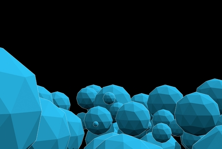 Large group of orbs or spheres levitation in empty space. 3d rendering