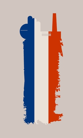 Illustration of an isolated factory icon and grunge brush. Brush stroke painted by France flag colors Illustration