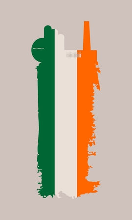 Illustration of an isolated factory icon and grunge brush. Brush stroke painted by Ireland flag colors