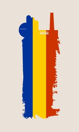 Illustration of an isolated factory icon and grunge brush. Brush stroke painted by Romania flag colors