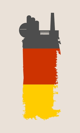 Illustration of an isolated factory icon and grunge brush. Brush stroke painted by Germany flag colors