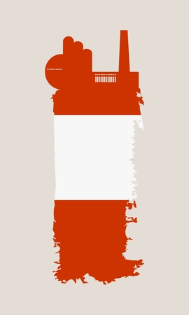 smokestack: Illustration of an isolated factory icon and grunge brush. Brush stroke painted by Austria flag colors
