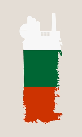 smokestack: Illustration of an isolated factory icon and grunge brush. Brush stroke painted by Bulgaria flag colors