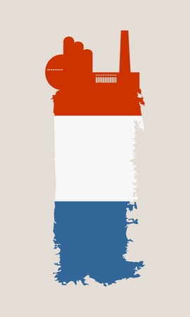 Illustration of an isolated factory icon and grunge brush. Brush stroke painted by Netherlands flag colors Illustration