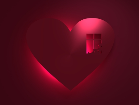 Happy valentines day and wedding design elements. Window and waiting woman in outline heart silhouette . Background relative to valentines day. 3D rendering. Neon light under the icon
