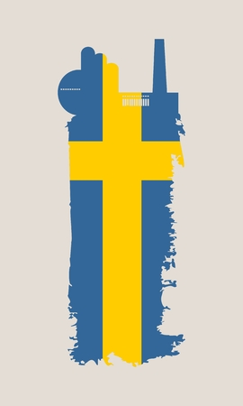 Illustration of an isolated factory icon and grunge brush. Brush stroke painted by Sweden flag colors