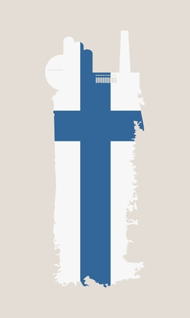 smokestack: Illustration of an isolated factory icon and grunge brush. Brush stroke painted by Finland flag colors