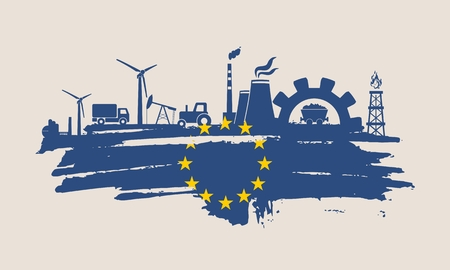 Energy and Power icons set and grunge brush stroke. Energy generation and heavy industry relative image. Agriculture and transportation. Vector illustration. Flag of the European Union