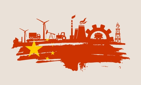 Energy and Power icons set and grunge brush stroke. Energy generation and heavy industry relative image. Agriculture and transportation. Vector illustration. Flag of the China