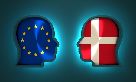 Image relative to politic and economic relationship between European Union and Denmark. National flags inside the heads of the businessmen. Teamwork concept. 3D rendering. Neon light Stock Photo