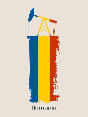 Ölpumpenikone und Schmutzbürstenanschlag. Energieerzeugung und Schwerindustrie relatives Bild. Vektor-Illustration. Flagge von Rumänien Vektorgrafik