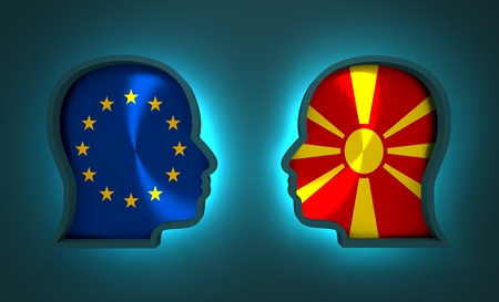 Image relative to politic and economic relationship between European Union and Macedonia. National flags inside the heads of the businessmen. Teamwork concept. 3D rendering. Neon light Stock Photo