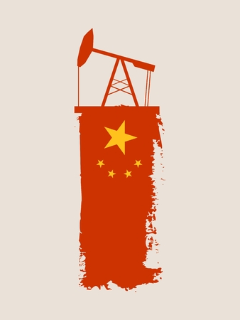 Ölpumpen-Ikone und Grunge Pinselstrich. Energieerzeugung und Schwerindustrie relativ Bild. Vektor-Illustration. Flagge des China