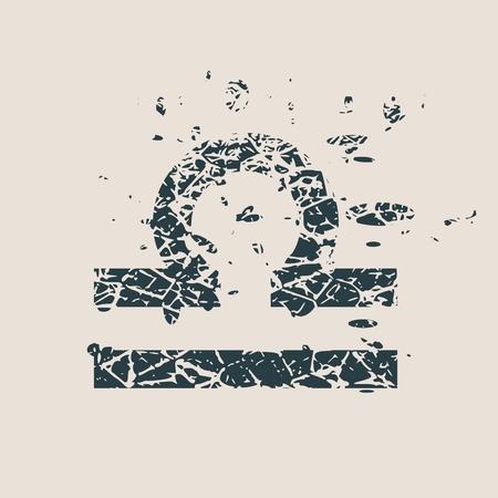 stone of destiny: Astrological symbol. Vector illustration. Scales sign. Grunge splatter texture