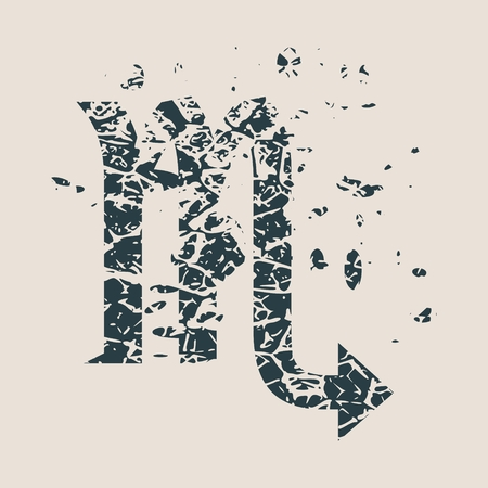 stone of destiny: Astrological symbol. Vector illustration. Scorpion sign. Grunge splatter texture
