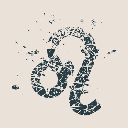 augury: Astrological symbol. Vector illustration. Lion sign. Grunge splatter texture Illustration