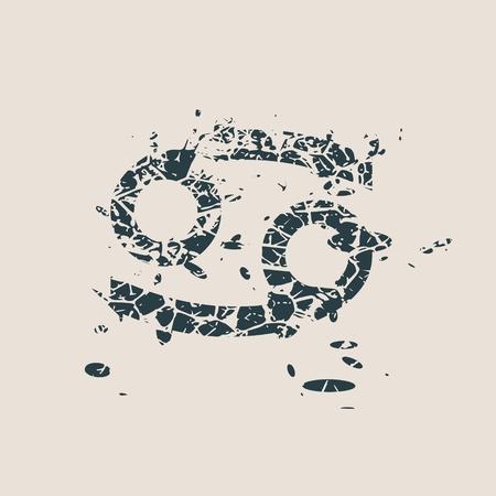 augury: Astrological symbol. Vector illustration. Cancer sign. Grunge splatter texture Illustration