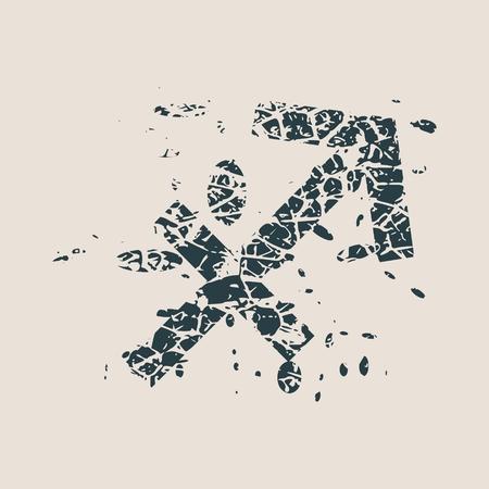 stone of destiny: Astrological symbol. Vector illustration. Archer sign. Grunge splatter texture Illustration