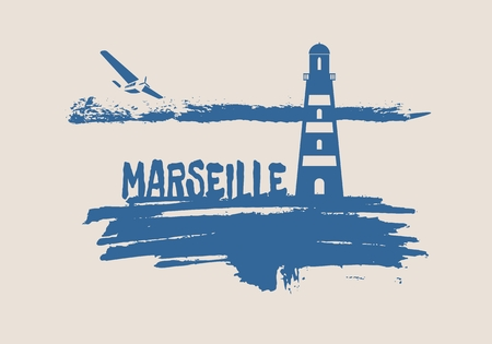 Lighthouse on brush stroke seashore. Clouds line with retro airplane icon. Vector illustration. Marseille city name text. Vector Illustration