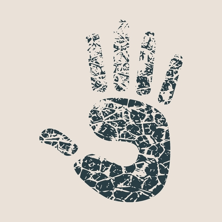 Stop hand Icon. Vector illustration. Grunge splatter texture Illustration