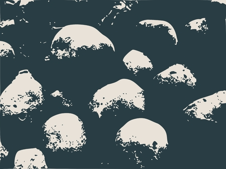 bass relief: Relief stone surface texture. Round stones. Monochrome image. Grunge distress texture.Vector template.