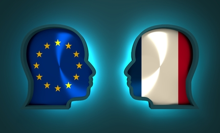Image relative to politic and economic relationship between European Union and France. National flags inside the heads of the businessmen. Teamwork concept. 3D rendering. Neon light