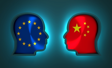 Image relative to politic and economic relationship between European Union and China. National flags inside the heads of the businessmen. Teamwork concept. 3D rendering. Neon light Stock Photo