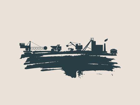 Energy and Power icons set and grunge brush stroke. Coal mining relative image. Vector illustration
