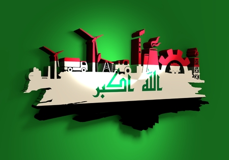 Energy and Power icons set and grunge brush stroke. Energy generation and heavy industry relative image. Agriculture and transportation. Flag of the Iraq. 3D rendering