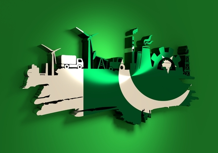 Energy and Power icons set and grunge brush stroke. Energy generation and heavy industry relative image. Agriculture and transportation. Flag of the Pakistan. 3D rendering