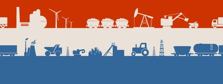 Energy and Power icons set on Netherlands flag backdrop. Header or footer banner. Sustainable energy generation and heavy industry. Vector illustration. Seamless background