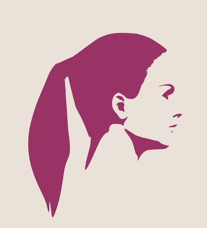 nude young: Face profile view. Elegant silhouette of a female head. Vector Illustration. Pony tail hair. Monochrome gamma.